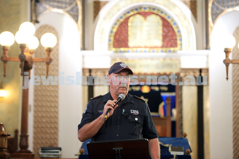 12-1-20. MFB firefighter John Branagan speaking at the Tefillah, Tzedakah and solidarity meeting held at St Kilda Shule for the thousands affected by the bush fires. Photo: Peter Haskin