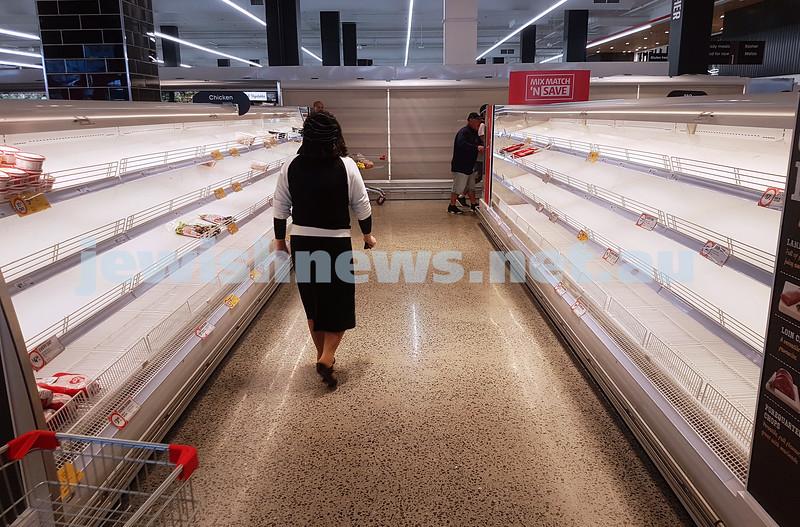 15-3-20. COVID 19. Coles Elsternwick. Empty shelves. Photo: Peter Haskin