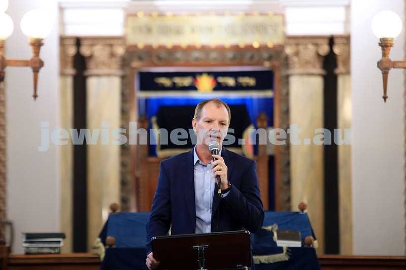 12-1-20. David Southwick. Tefillah, Tzedakah and solidarity meeting held at St Kilda Shule for the thousands affected by the bush fires. Photo: Peter Haskin