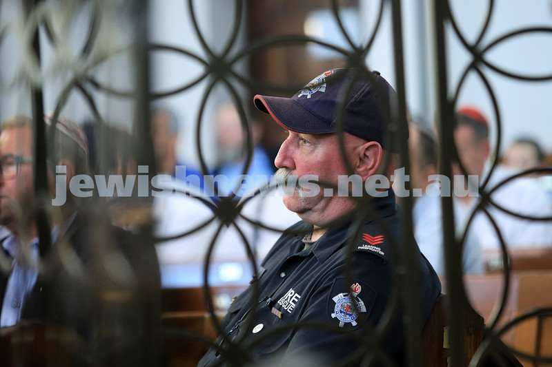 12-1-20. MFB firefighter John Branagan. Tefillah, Tzedakah and solidarity meeting held at St Kilda Shule for the thousands affected by the bush fires. Photo: Peter Haskin