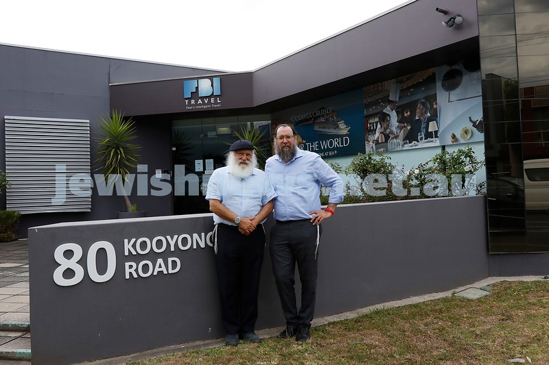 25-1-21. Spirit Grow founder Rabbi Laibl Wolf (lefrt) and  and his son Rabbi Menachem Wolf standing outside their newly purchased premises, the former FBI Travel building on Kooyong Rd. Photo: Peter Haskin