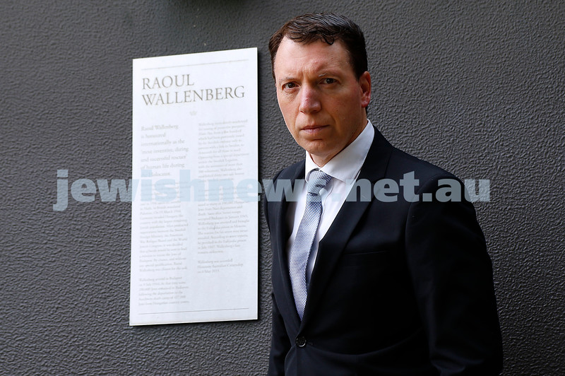 24-2-21. Dvir Abramovich at the Raoul Wallenberg Garden next to the St Kilda Town Hall. Photo: Petrer Haskin