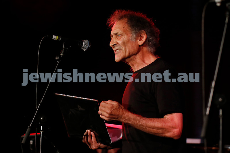 8-4-21. FOJAM. Uprising: Songs of Resistance starts at the close of Yom Hashoah (Holocaust Remembrance and Heroism Day) celebrating resistance through song and story, and takes place on the land of the Boon Wurrung people of the Kulin Nation.. Arnold Zable. Photo: Peter Haskin