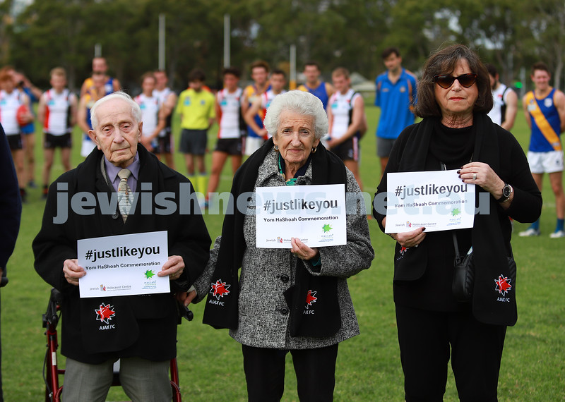 17-4-21. Yom Ha shoah commemoration at AJAX football club's first home game for the season. Photo: Peter Haskin