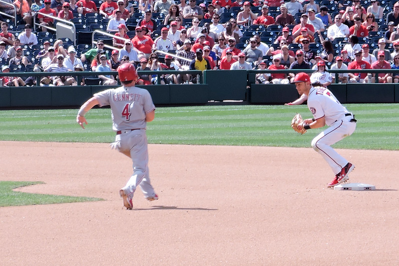 Trey Turner turning a double play