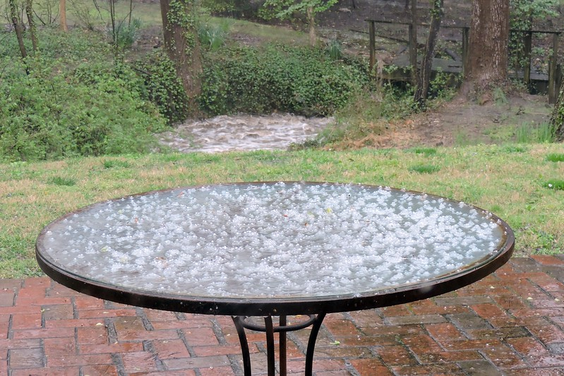 Hailstones and a rising creek