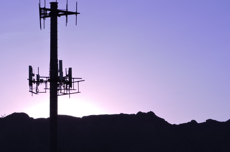 Cell tower at sunrise