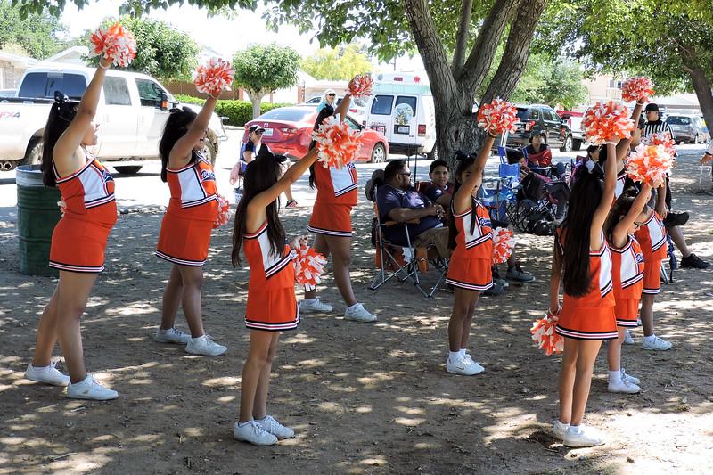 Flag football cheerleaders