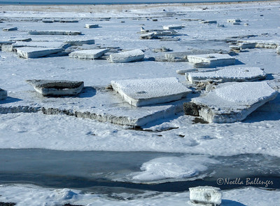Shoreline of Homer Spit with massive blocks of ice