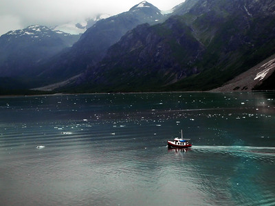Boat & Glacier and mountains