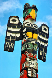 This totem is outside the British Columbia Museum in Victoria.