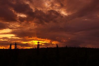 Sunset over Denali National Park from Princess Lodge south of Denali