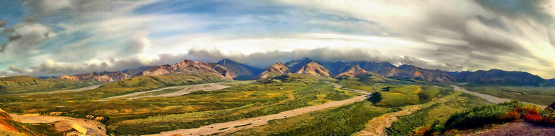 """This is a panorama photo of Polychrome Pass in Denali Park.  Click on the """"Original Size"""" and move the bar at the bottom & right side to view the whole image.  The photo cannot capture the beauty of this place."""