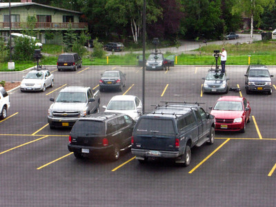 Google Earth camera cars in our hotel parking lot