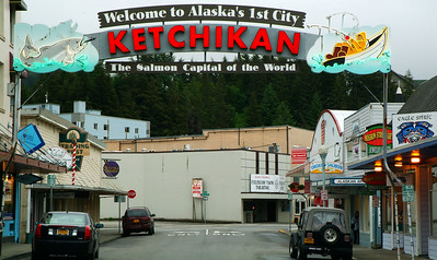 Ketchikan welcome sign.  Ketchikan is the first city on the coast most cruise ships stop at initially on their journey north.  It is the fishing capital of Alaska.  It also averages over 200 inches of rain every year.