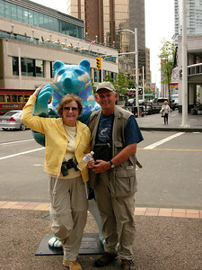 MA and I on the street in Vancouver the night before we sailed