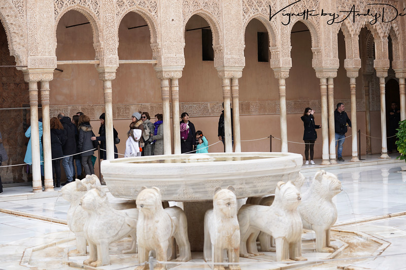 The exquisite marble fountain supported by the 12 Lions symbolizing the 12 Tribes of Israel, gifted by the Sultan's Jewish courtiers and subject - an ornate and spectacular centerpiece for the Palace of the Lions!