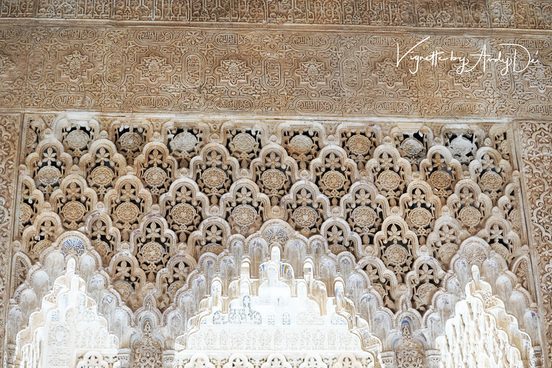 Exquisite, painstaking sculpture reminiscent of that at the Taj Mahal, inside the Sultan's private quarters, at the Alhambra!