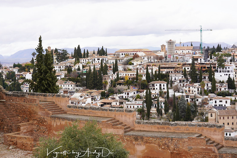 Breathtaking panoramic perspective of the Sierra Nevada mountains as seen from the ramparts of the Alhambra Palace!