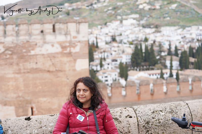 Breathtaking panoramic perspective of the Sierra Nevada mountains as seen from the ramparts of the Alhambra Palace, as backdrop for this portrait!