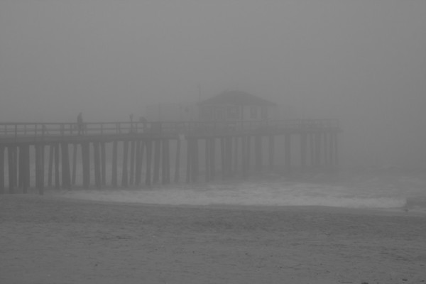Foggy fishing pier