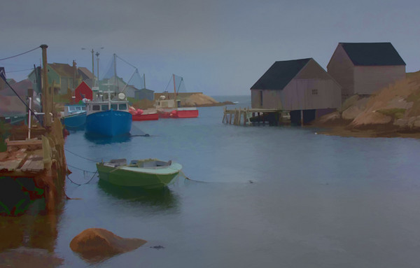 Peggy's cove inlet, watercolor effect