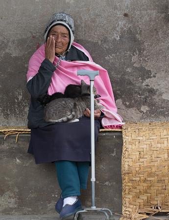 Beggar woman in Otavalo
