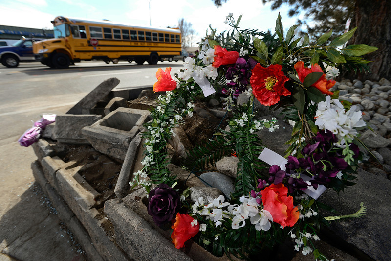 A temporary memorial is seen, Thursday, March 7, 2013, at the corner of 17th Ave. and Main Street in Longmont.<br /> (Matthew Jonas/Times-Call)