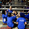 Lyons students, clockwise from left, Regina Fuster, Alayna Brickman, Jaidan Batts, Franklin Dorschal, Amanda Dillon and Owen Grace celebrate a correct answer during the 2013 St. Vrain Valley School District Middle School Geography Bee at Altona Middle School in Longmont on Wednesday, Jan. 30, 2013. <br /> (Greg Lindstrom/Times-Call)