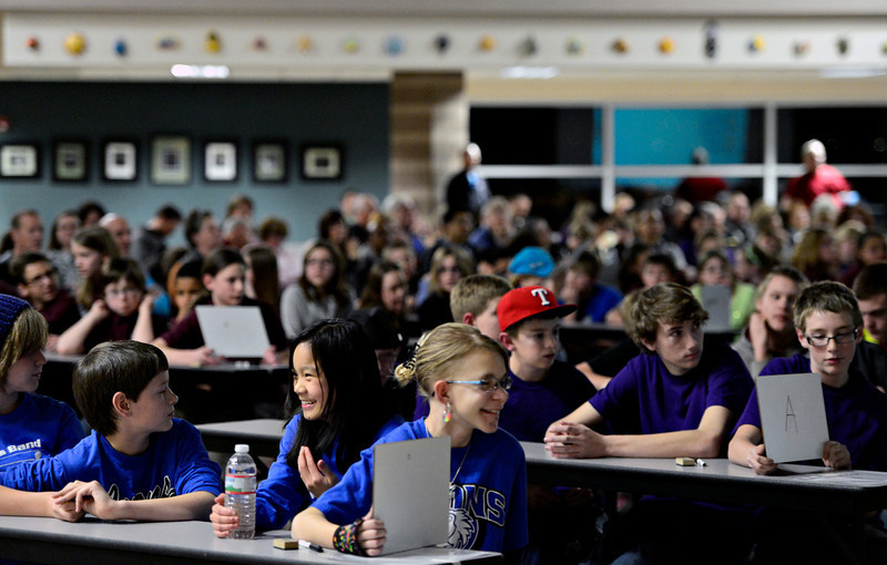 Students compete in the 2013 St. Vrain Valley School District Middle School Geography Bee at Altona Middle School in Longmont on Wednesday, Jan. 30, 2013. <br /> (Greg Lindstrom/Times-Call)