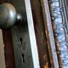 The original door handle with dual locks is seen, Wednesday, Dec. 19, 2012, at the Gaccetta's home in Longmont.<br /> (Matthew Jonas/Times-Call)