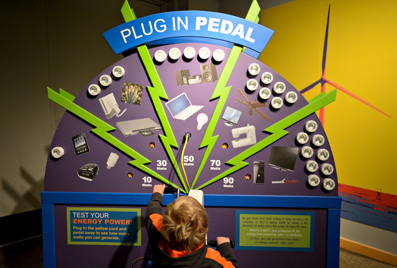 """20121119_AMPD_019.jpg Marik Magginetti, 5, tries to power a hand crank while exploring the AMP'D exhibit at the Longmont Museum & Cultural Center with his mother Meghan on Monday, Nov. 19, 2012.  The exhibit, which is open through February 17, features many hands-on activities and information about the centennial of Longmont Power & Communications.  For more photos and a video visit  <a href=""""http://www.TimesCall.com"""">http://www.TimesCall.com</a>.<br /> (Greg Lindstrom/Times-Call)"""