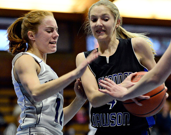 "Longmont Christian's Mary Dean (12) defends Alexander Dawson's Morgan Powers (4) during the game at the St. Vrain Memorial Building in Longmont on Monday, Feb. 11, 2013. For more photos visit  <a href=""http://www.BoCoPreps.com"">http://www.BoCoPreps.com</a>.<br /> (Greg Lindstrom/Times-Call)"