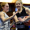 """Longmont Christian's Mary Dean (12) defends Alexander Dawson's Morgan Powers (4) during the game at the St. Vrain Memorial Building in Longmont on Monday, Feb. 11, 2013. For more photos visit  <a href=""""http://www.BoCoPreps.com"""">http://www.BoCoPreps.com</a>.<br /> (Greg Lindstrom/Times-Call)"""