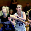 """Alexander Dawson's Emily Barrett (10) boxes out Longmont Christian's Alyssa Rusco (13) during the game at the St. Vrain Memorial Building in Longmont on Monday, Feb. 11, 2013. For more photos visit  <a href=""""http://www.BoCoPreps.com"""">http://www.BoCoPreps.com</a>.<br /> (Greg Lindstrom/Times-Call)"""