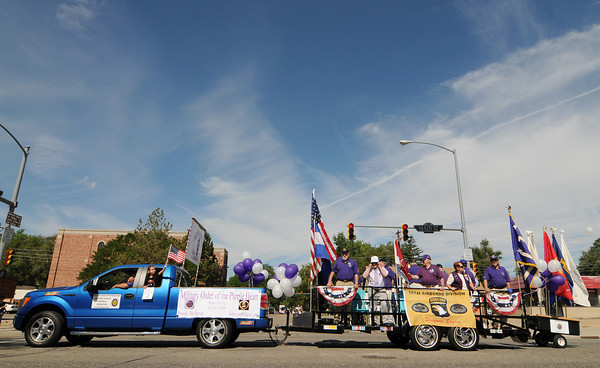 The Military Order of the Purple Heart joins the Boulder County Fair Parade in downtown Longmont Saturday, July 31, 2010.  (Bradley Wakoff/Times-Call)