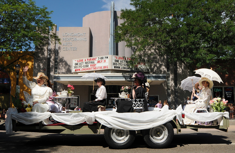 The St. Vrain Historical Society float passes down Main Street during the Boulder County Fair Parade in Longmont Saturday July 31, 2010. (Bradley Wakoff/Times-Call)