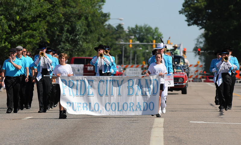Pueblo's Pride City Band marches with the Boulder County Fair Parade in Longmont, July 31, 2010.