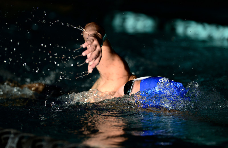 """Broomfield's Alaina Gossett competes in the 200 yard freestyle during the swim meet at Centennial Pool in Longmont on Thursday, Dec. 6, 2012. For more photos visit  <a href=""""http://www.BoCoPreps.com"""">http://www.BoCoPreps.com</a>.<br /> (Greg Lindstrom/Times-Call)"""