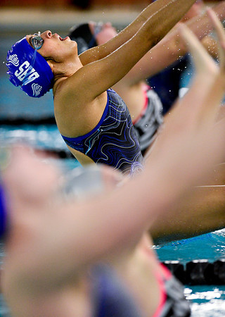"Broomfield's Anissa Mata dives in during the 100 yard backstroke during the swim meet at Centennial Pool in Longmont on Thursday, Dec. 6, 2012. For more photos visit  <a href=""http://www.BoCoPreps.com"">http://www.BoCoPreps.com</a>.<br /> (Greg Lindstrom/Times-Call)"