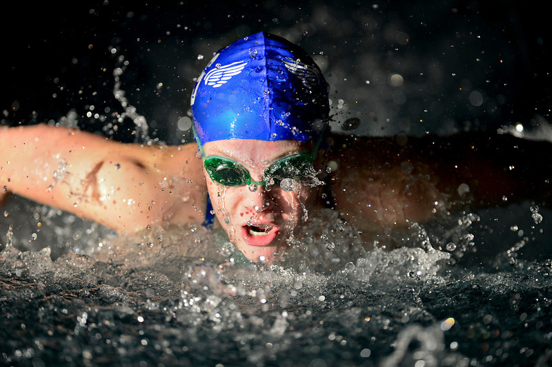 "Broomfield's Elizabeth Peterson competes in the 200 yard medley relay during the swim meet at Centennial Pool in Longmont on Thursday, Dec. 6, 2012. For more photos visit  <a href=""http://www.BoCoPreps.com"">http://www.BoCoPreps.com</a>.<br /> (Greg Lindstrom/Times-Call)"