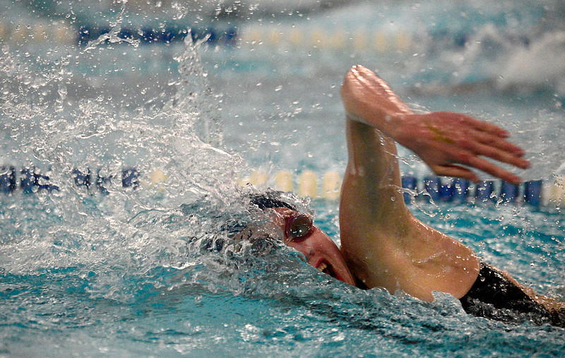 Legacy's Mary Lombardi competes in the 500 yard consolation final during the Class 5A State Swim Meet Championships Saturday afternoon Feb. 09, 2013 in Fort Collins. (Lewis Geyer/Times-Call)