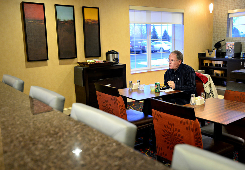 Jimmy Barker, visiting from Florida on business, enjoys a meal at the Marriott Residence Inn, 1450 Dry Creek Drive in Longmont, on Wednesday, Feb. 27, 2013.<br /> (Greg Lindstrom/Times-Call)