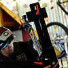 Samsara Cycles owner Matt Nunn works on a custom bike frame at his home near Frederick on Tuesday, March 5, 2013.<br /> (Greg Lindstrom/Times-Call)