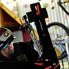 Samsara Cycles owner Matt Nunn works on a custom bike frame at his home near Frederick on Tuesday, March 5, 2013.<br /> (Greg Lindstrom/Times-Call)