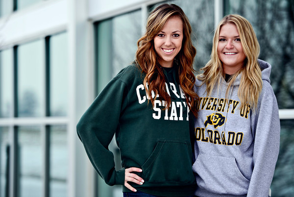 Jessica Smolenske, left, and Sam Kalwitz are pictured at Mead High School on Thursday, Dec. 27, 2012. Smolenske and Kalwitz graduated from Mead High School in 2012, and now attend Colorado State University and the University of Colorado, respectively. <br /> (Greg Lindstrom/Times-Call)