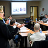 Marlene Collins, a property and business owner of Discoveries Egyptian Imports, 454 Main St., discusses her experience with the east-side Alleyscape project during a meeting discussing the west-side Alleyscape project in downtown Longmont on Wednesday, Jan. 24, 2013.<br /> (Greg Lindstrom/Times-Call)