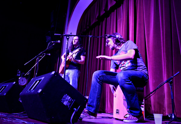 David Bartlett, right, plays the cajon with Jace Kyle Hill at Dickens Opera House on Friday, Jan. 18, 2013. <br /> (Greg Lindstrom/Times-Call)