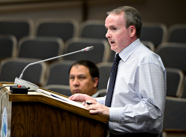 Brad Power, economic development director for the City of Longmont, speaks to the Longmont City Council about the redevelopment of Twin Peaks Mall on Tuesday, Feb. 5, 2013.<br /> (Greg Lindstrom/Times-Call)