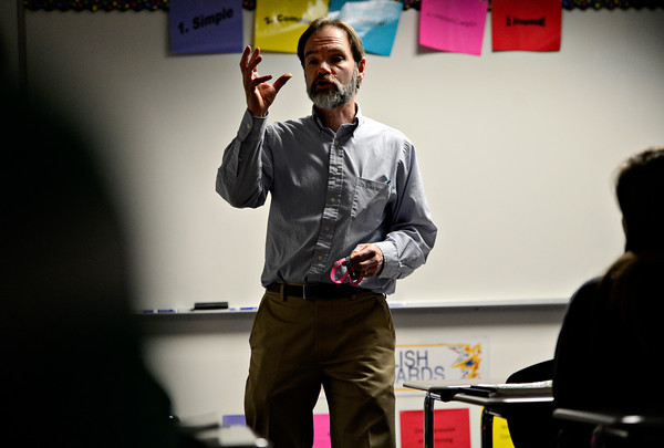Guest speaker Joel Feldman discusses the dangers of distracted driving during a driver education class at Longmont High School on Wednesday, Jan. 9, 2013. <br /> (Greg Lindstrom/Times-Call)